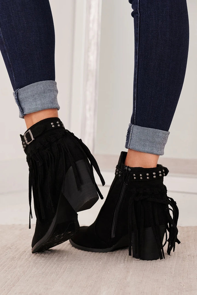 Kuselle Ankle Boots Heeled Tassel Pointed Toe Short Boots