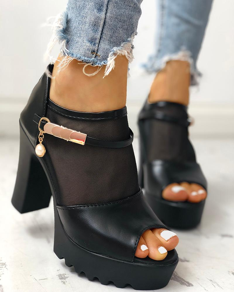 Kuselle Peep Open Toe Platform Heeled Sandals