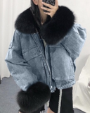 Kuselle Fur Collar Plus Cashmere Denim Coat