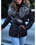 Kuselle Women's Large Size Fur Collar Short Cotton Coat Belted Coat