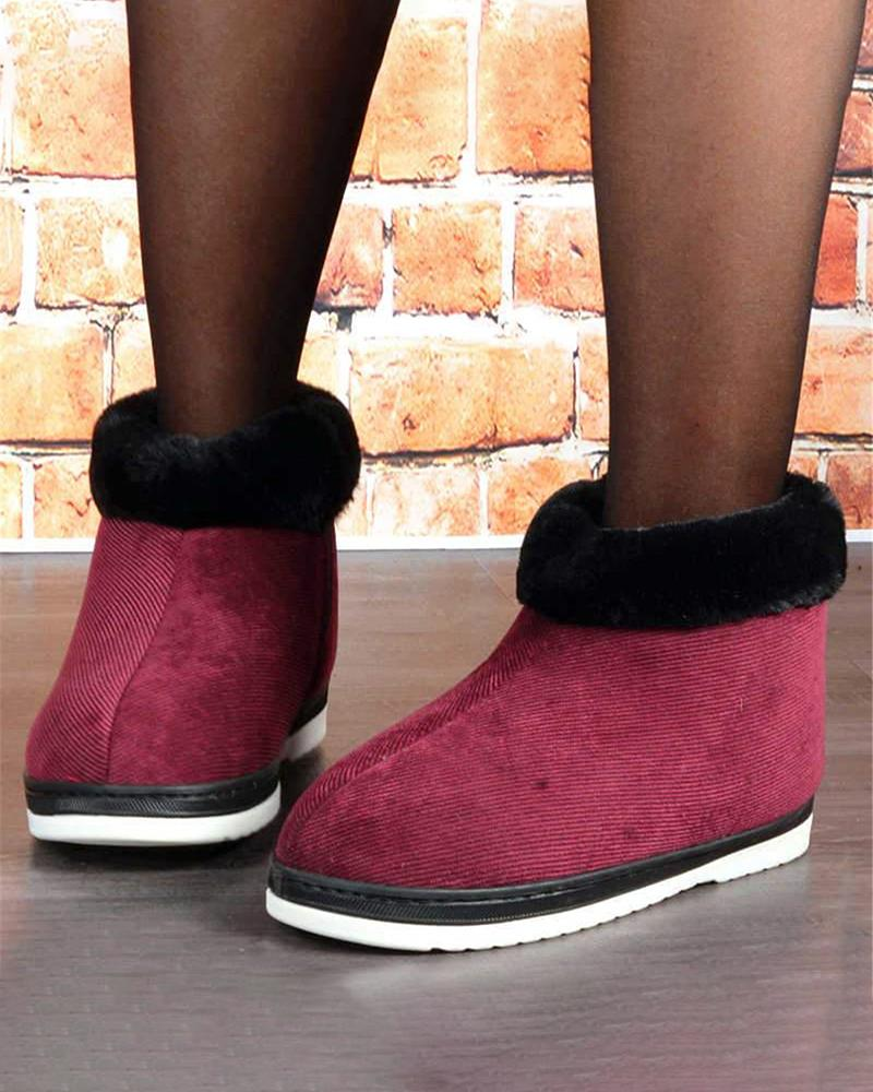 Kuselle Fluffy Side Zipper Winter Warm Flat Ankle Boots