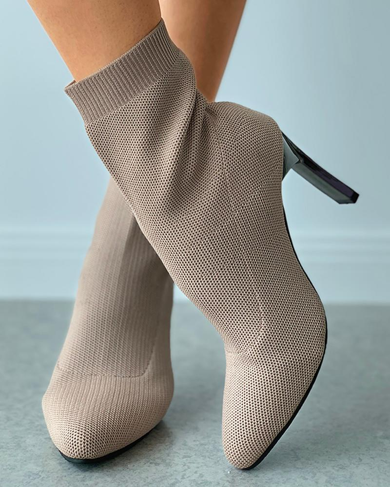 Kuselle Pointed Toe Solid Color Stiletto Sock Boots