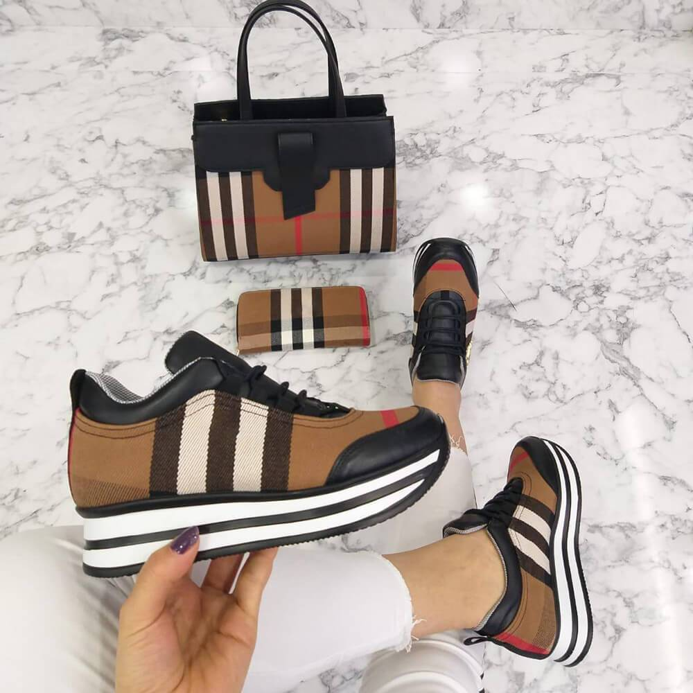 Kuselle Striped Sole Printed Cool Sneakers