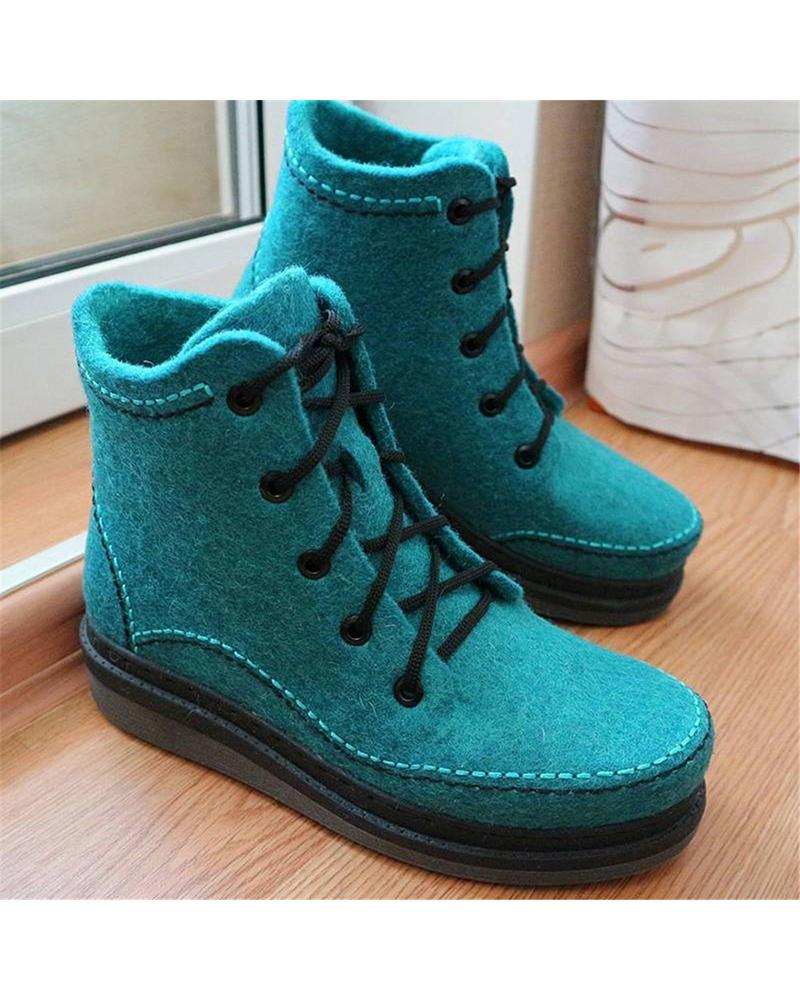 Kuselle Square Toe Solid Color Lace-up Ankle Boots