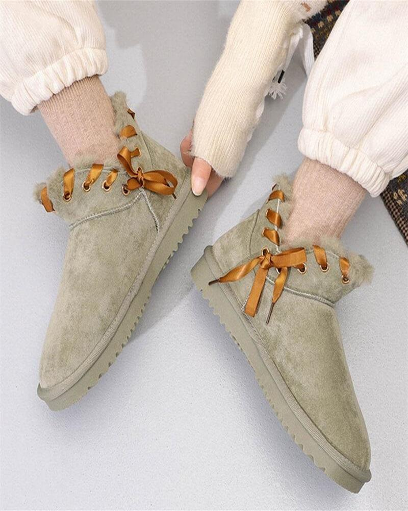 Kuselle Solid Color Drawstring Bowknot Velvet Booties