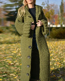 Kuselle Hooded Cardigan Button Closure Ankle Length Warm Sweater
