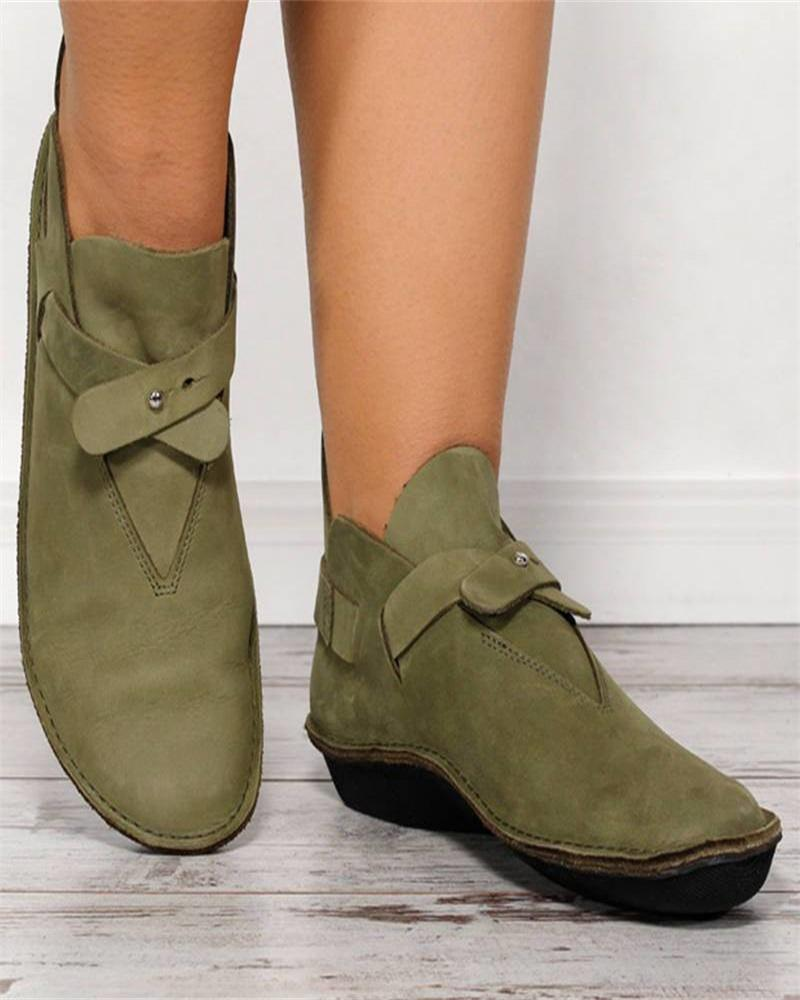 Kuselle Flat Ankle Booties Solid Color Comfy Short Boots
