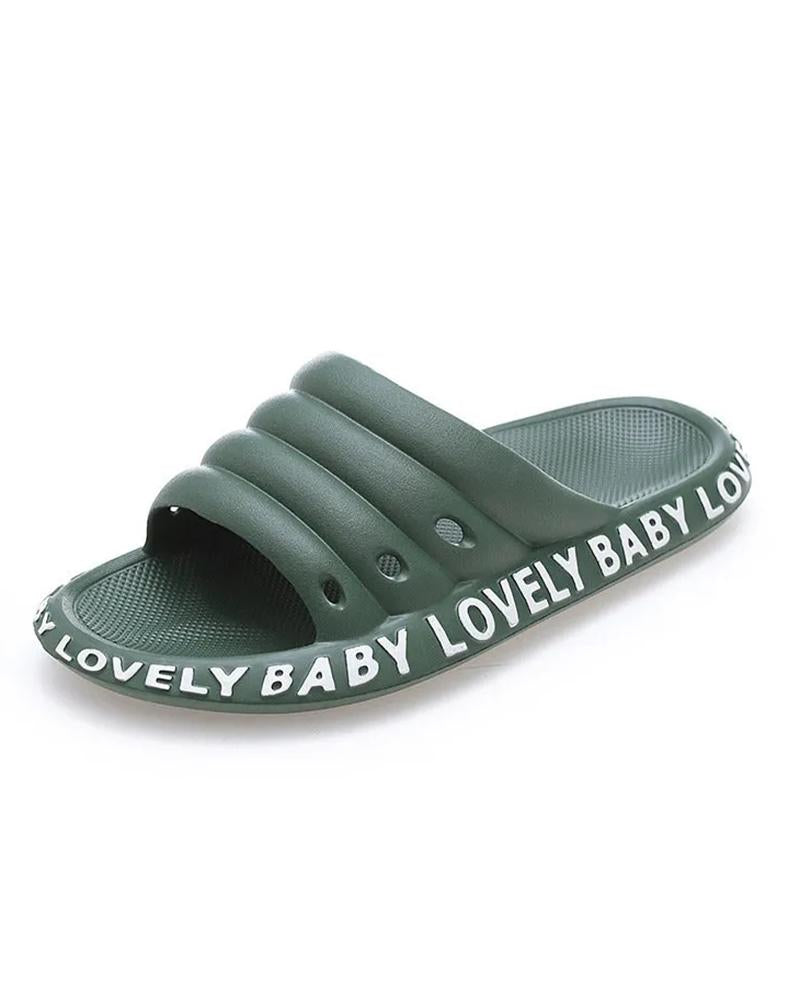 Kuselle Lovely Baby Letter Printed Solid Color Comfortable Hollow-out Slides