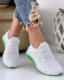 Kuselle Elastic Sneakers Rhinestone Embellished Breathable Flat Walking Shoes