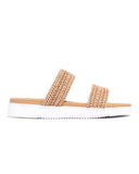 Kuselle Womens Weave Open Toe Slip on Flatform Sandals