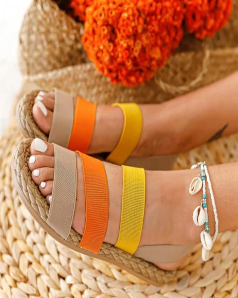 Kuselle Womens Colorful Elastric Straps Flat Summer Sandals