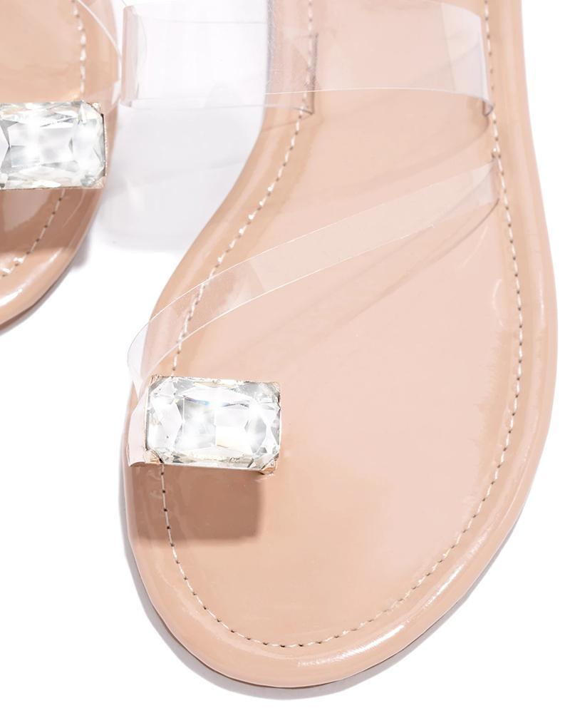 Kuselle One Transparent Strap Single Diamond Toe Slides