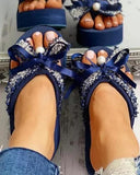 Kuselle Slip-on Bowknot Slides Embellished Wedges Slingback Sandals