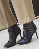 Kuselle Fashion Lace Up High Heels Ankle Boots