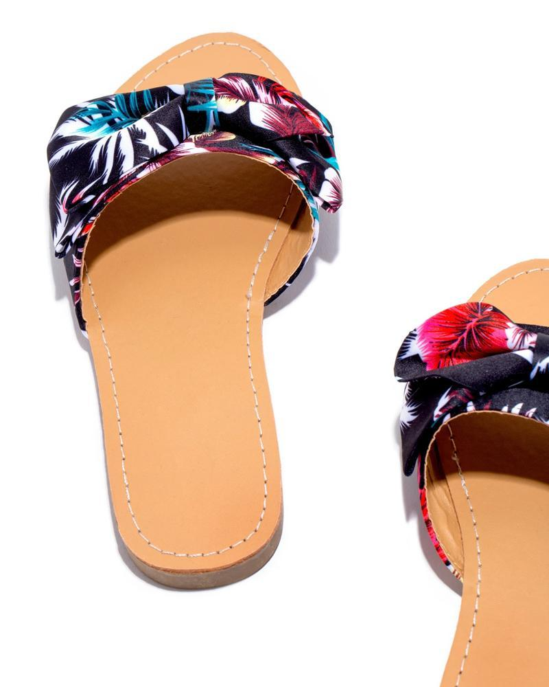 Kuselle Floral Simple Bow Tie Comfy Slides