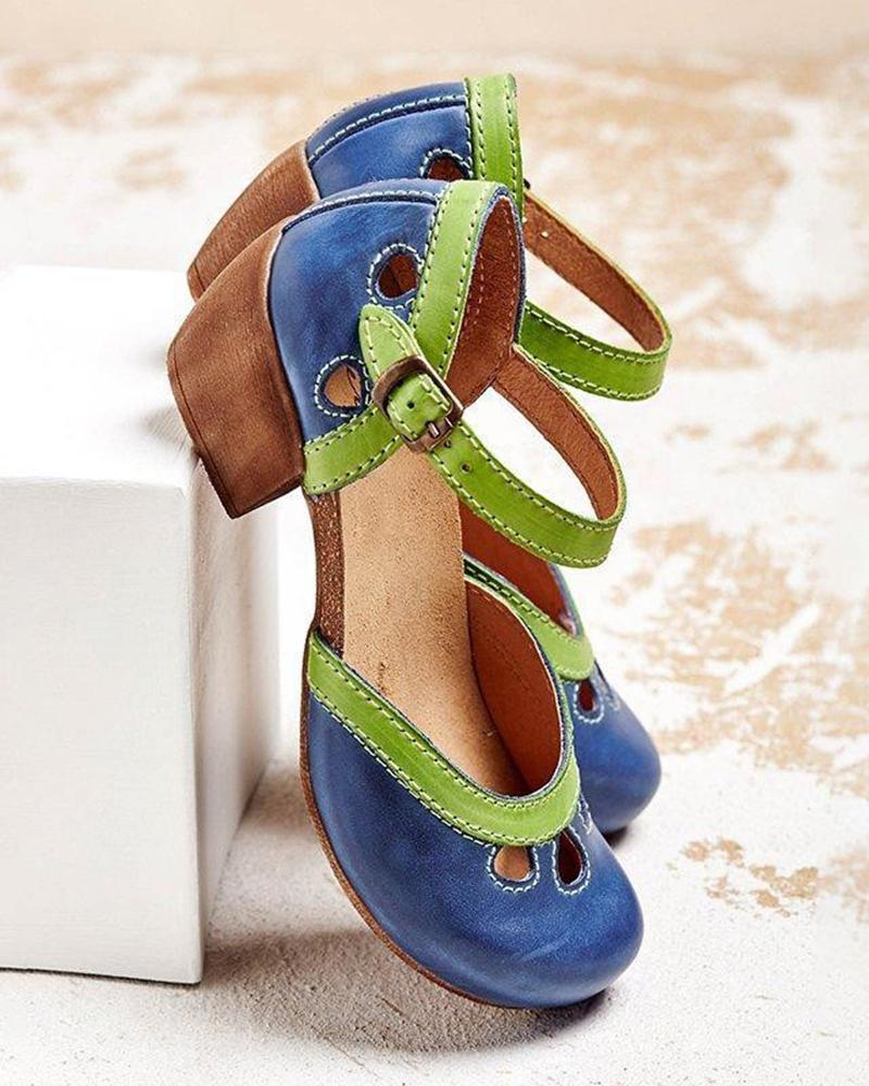 Kuselle Hollow Out Round Toe Clog Chunky Heeled Sandals