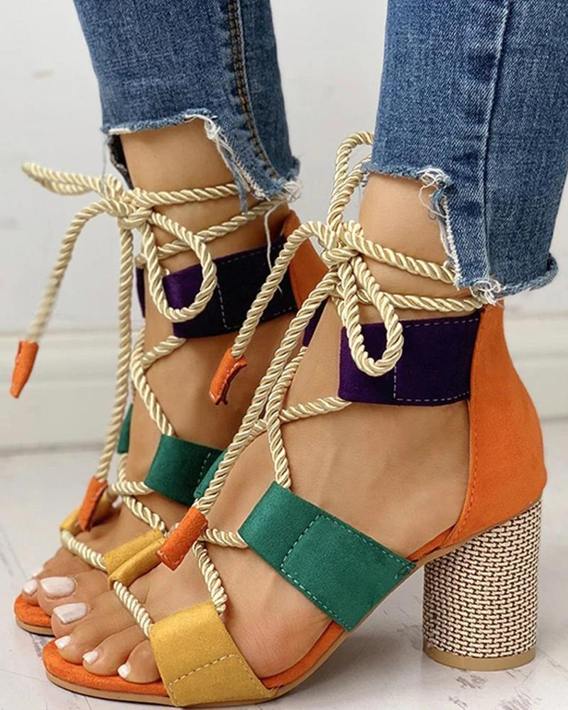Kuselle Lace-up Hollow-out Colorblock Chunky Heel Open Toe Rope Tie Sandals