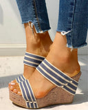 Kuselle Two Strap Platform Wedges Rivet Emblished Slip-on Sandals