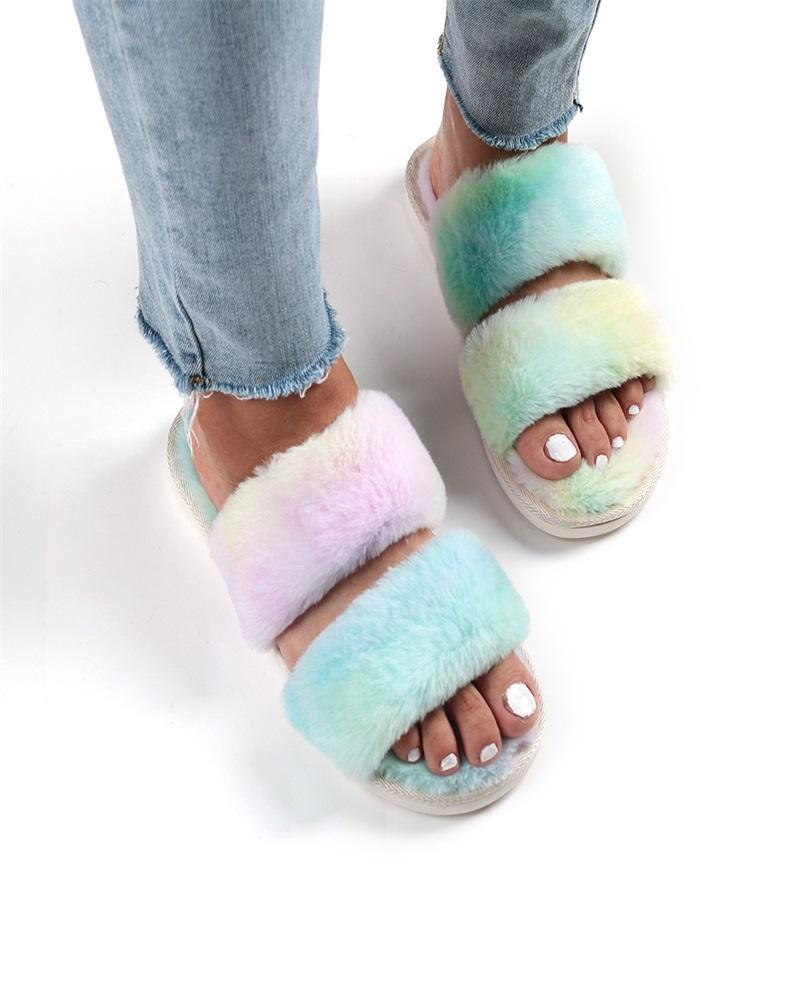 Kuselle Fluffy Double Band Colorful Flat Comfy Slippers