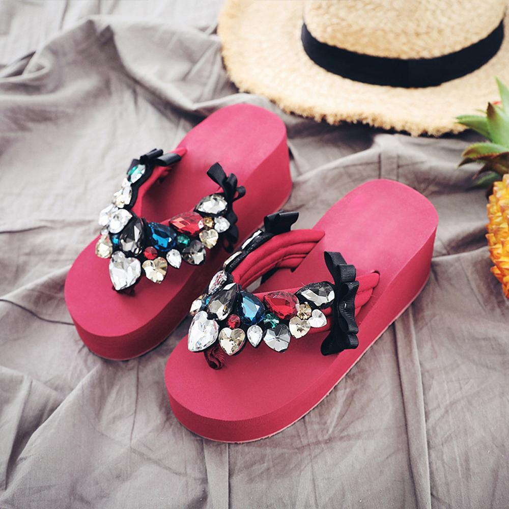 Kuselle Woman Crystal Fashion Beach Flip-flops Sandals Slippers