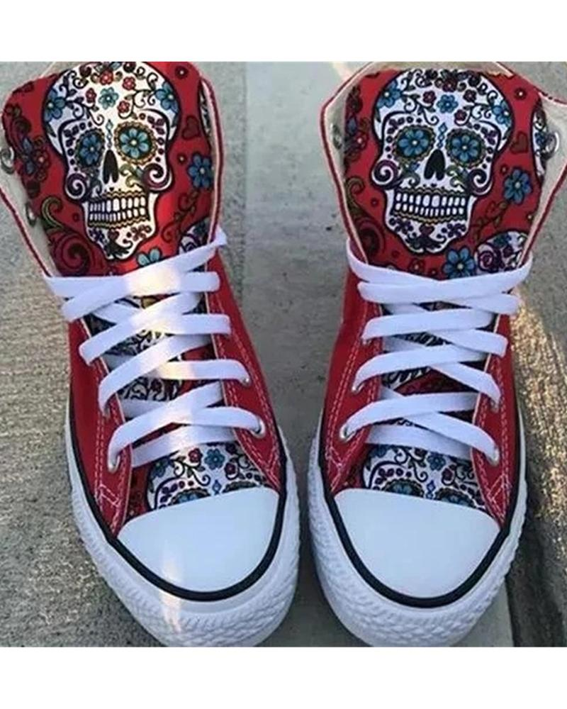 Kuselle High Top Colorful Skull Pattern Lace-up Canvas Shoes