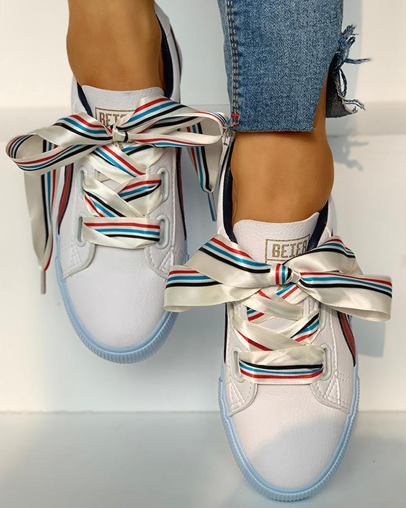 Kuselle Stripe Ribbon Lace-Up Lines Colorful Sneakers