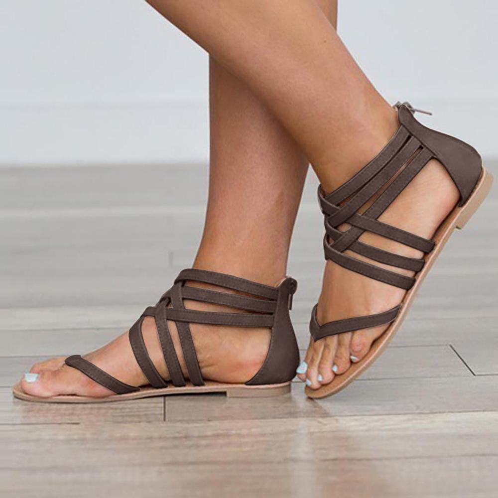 Kuselle Gladiator Lace Up Back Zipper Sandals