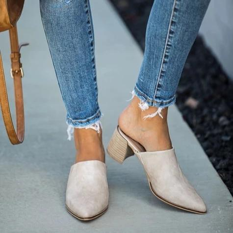 Kuselle Pointed Toe Mules Stacked Heel Slingback Sandals