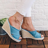 Kuselle Peep Toe Wedges Slip-on Mule Sandal