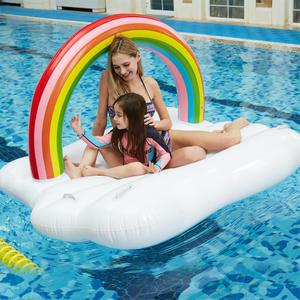 Kuselle Rainbow Cloud Inflatable Floating Raft Swimming Pool Float