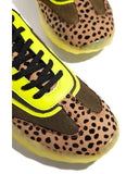 Kuselle Stitching Color Lace-up Leopard Snakeskin Stylish Sneakers