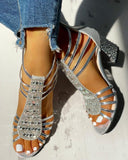 Kuselle Rhinestone Emblished Shinny Low Block Heels