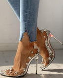 Kuselle Transparent Stilettos Rhinestone Emblished Thin Heels