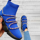 Kuselle Cape Robbin Criss Cross Rhinestone Roped Sock Sneaker