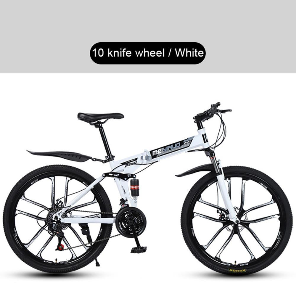 Kuselle 26 Inch Foldable Mountain Bike 10 Knife Wheels Dual Disc Brakes Bicycle