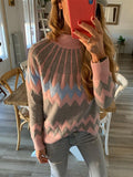 Kuselle Mock Neck Drop Shoulder Colorblock Sweater