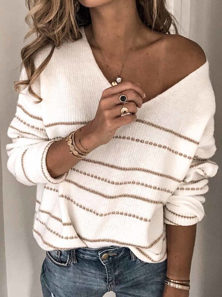 Kusele V Neck Solid Color Striped Drop Shoulder Sweater