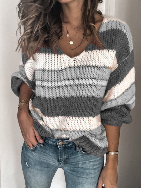 Colorblock V Neck Drop Shoulder Oversized Sweater