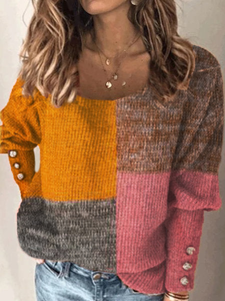 Kuselle Color-block Drop Shoulder Ribbed Knit Sweater