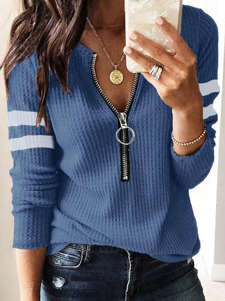 Kuselle V Neck Knit Henley Tops Casual Sweater
