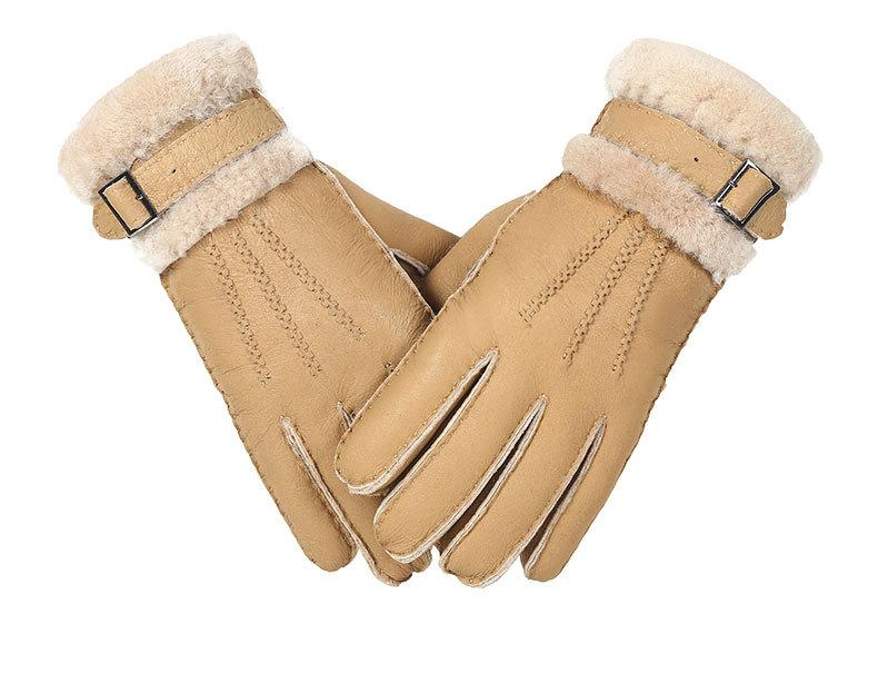 Kuselle Wrist Buckle Strap Solid Color Warm Gloves