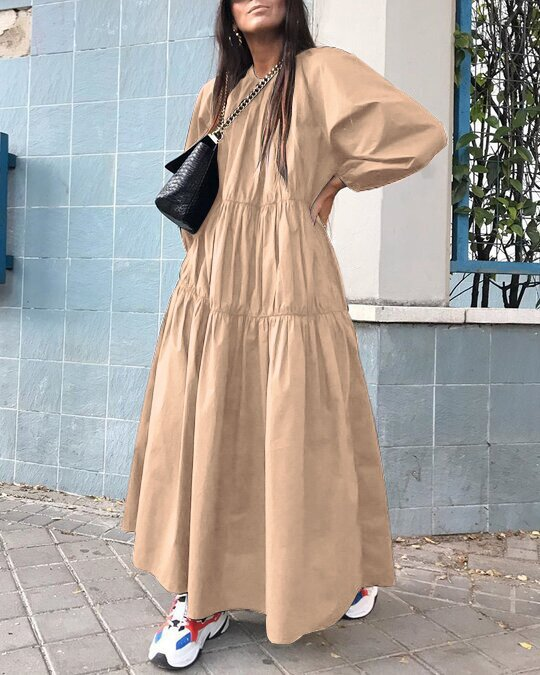 Kuselle Solid Color Long Sleeve Casual Dress