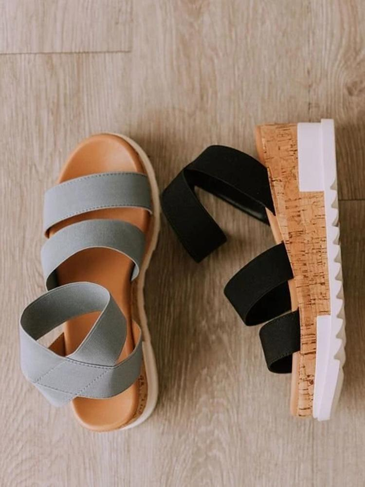 Kuselle Two Straps Platform Wedge Sandals
