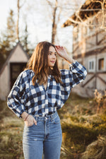 Load image into Gallery viewer, Clive Button Down Blouse - Navy Check