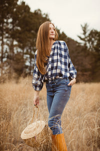 Clive Button Down Blouse - Navy Check