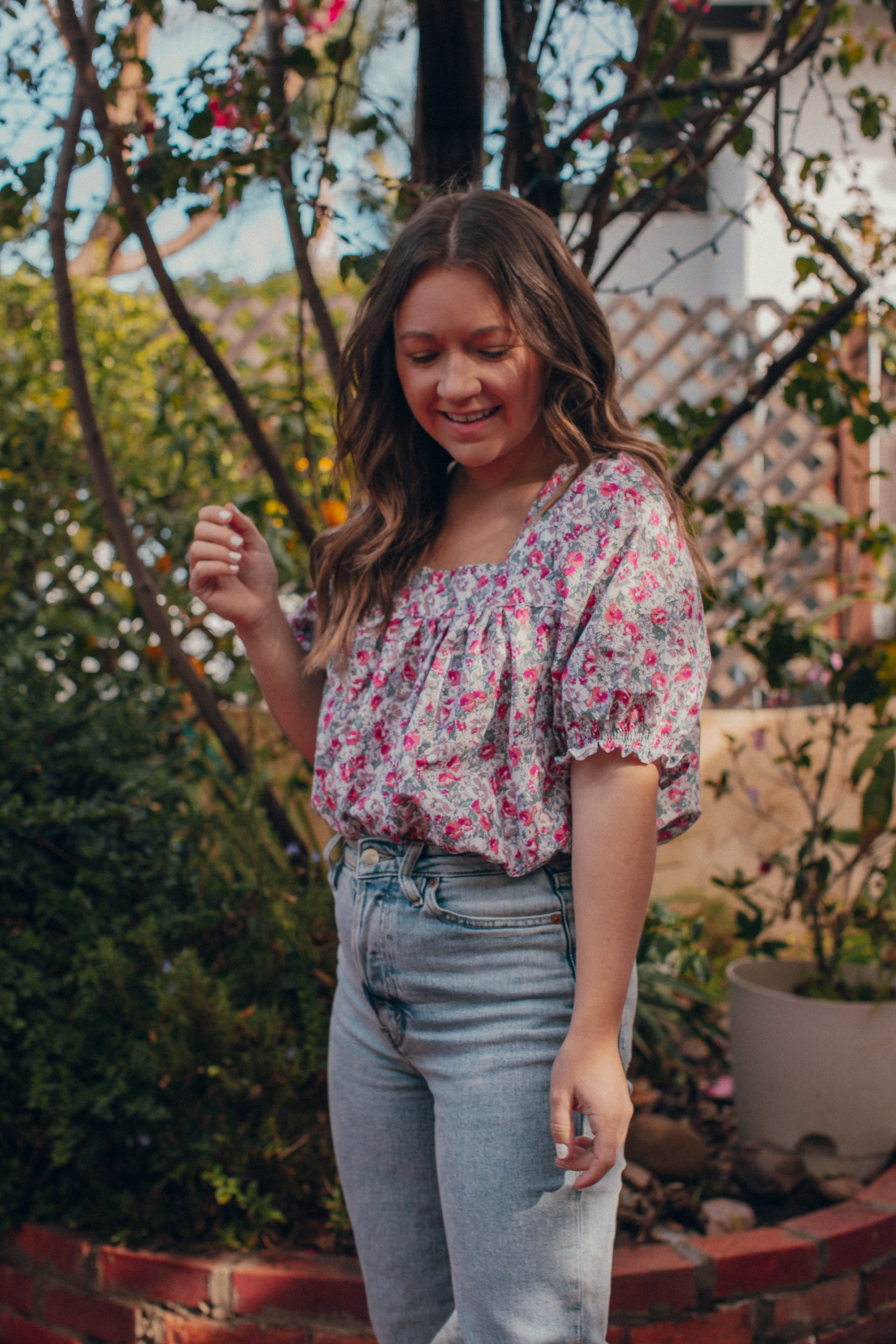 Sola Blouse - Pink Floral