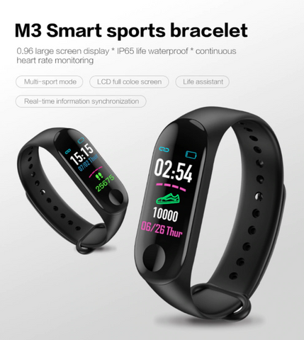 Smart Bracelet M3 Fitness Watch and Calorie counter waterproof with large display