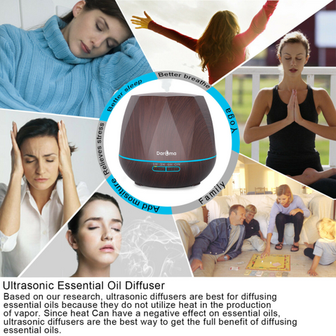 Daroma Essential Oil Ultrasonic Diffuser listing benefits and uses, yoga, breathe better humidify family better sleep relieve stress