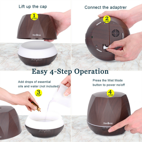 Daroma Essential Oil Ultrasonic Diffuser showing easy to use 3 step operation