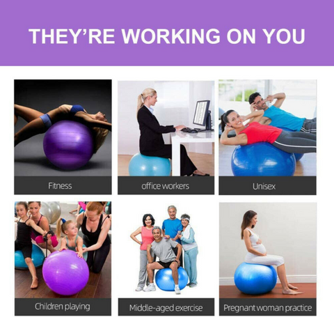 Bayside Wellness Exercise Workout Yoga Ball for all ages, office, fitness, children playing, pregnant woman, unisex